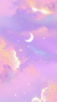 月亮 紫色 天空 星空 绘画