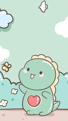 小恐龙 爱心 卡通 可爱