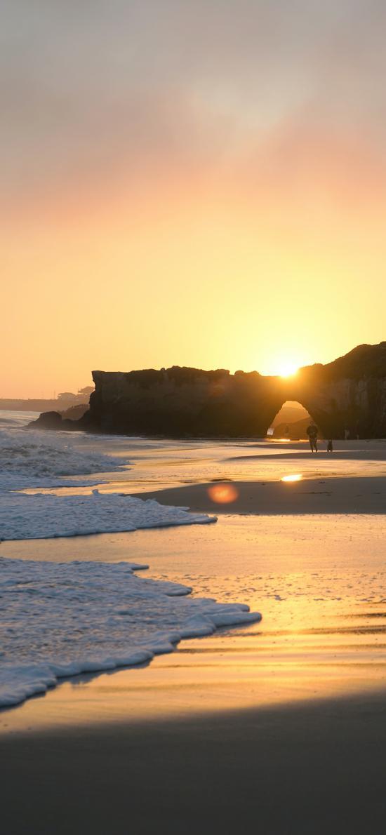大海 海滩 浪花 落日美景