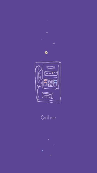 电话 按键 简笔画 插画 紫色 call me