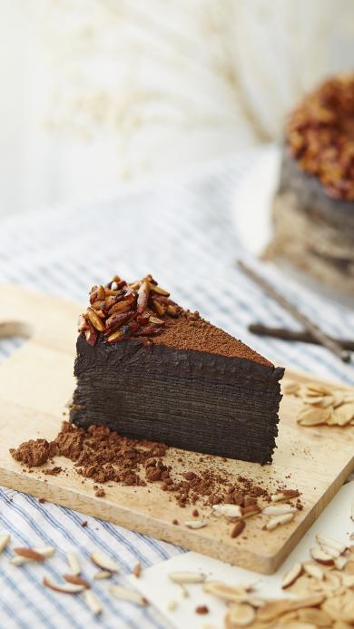 蛋糕 可可粉 甜品 杏仁 坚果