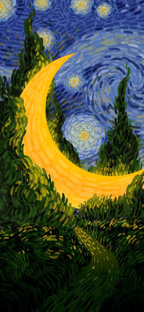 梵高 画家 月亮 星空 树木