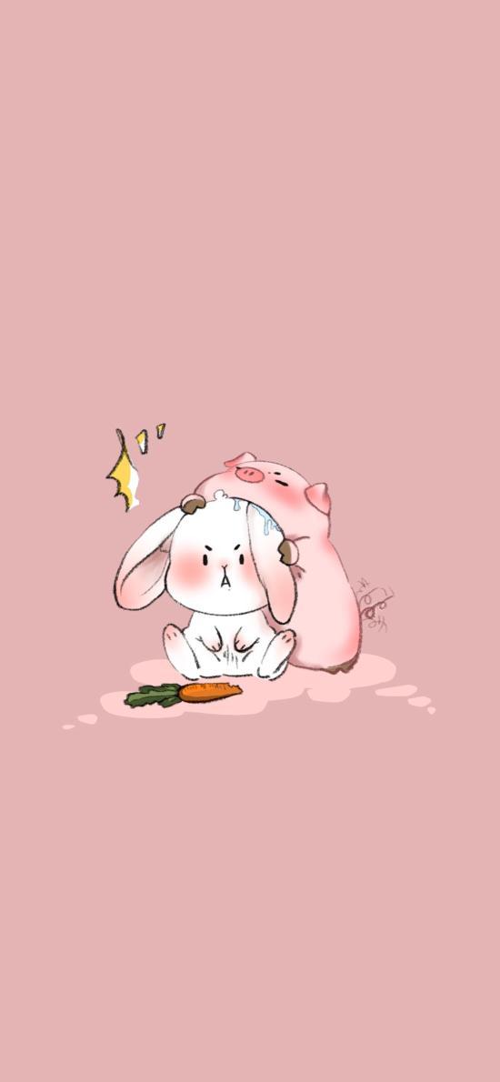可爱 粉 兔子 猪 胡萝卜