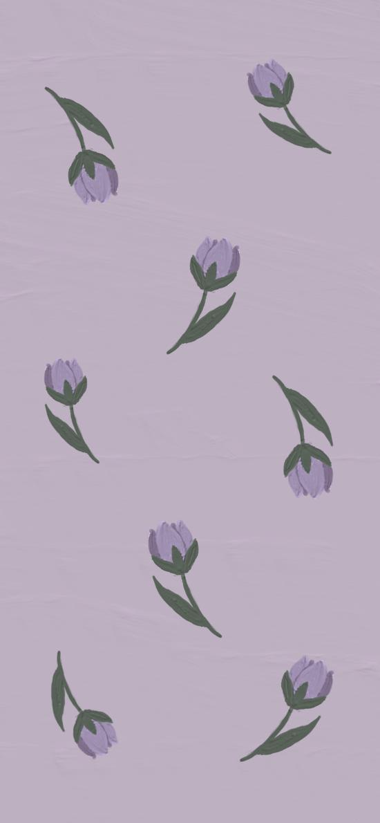 手绘 紫色 小花 平铺