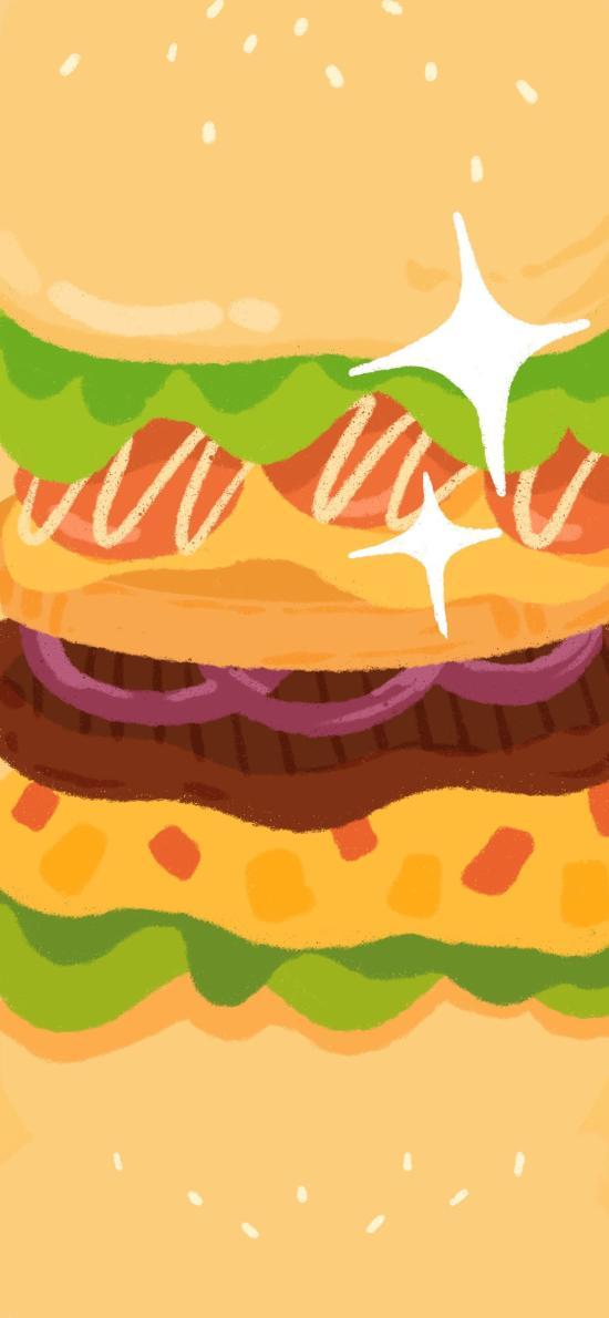 汉堡 黄色 插画 蔬菜 牛肉