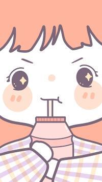 小女孩 吸管 饮料 卡通 大脸