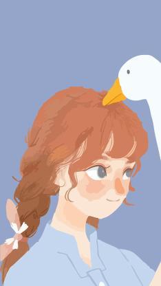 小女孩 辫子 鸭子 蓝色