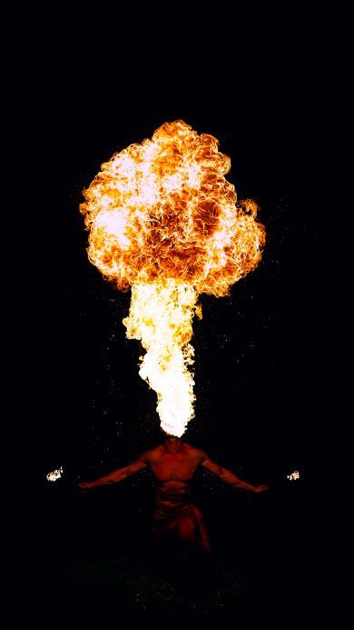 杂耍 杂技 表演 喷火