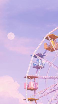 摩天轮 月亮 紫色 旋转 游乐场