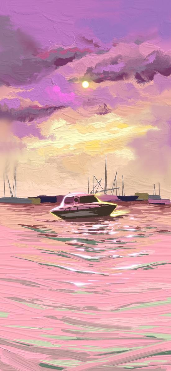 风景 插画 海景 船只 粉色浪漫