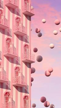 建筑 粉色 球 阳台 空间