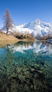 山峰 雪山 湖泊 美景