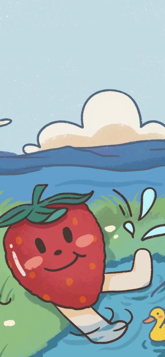 插画 河边 草莓 小鸭子