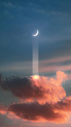 月亮 月牙 天空 云朵 夜空
