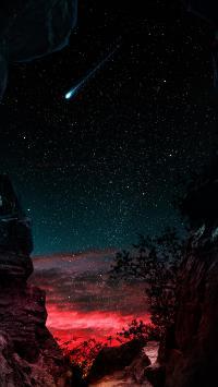 星空 夜晚 流星 天空 唯美
