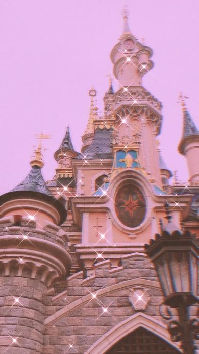 城堡 迪士尼 建筑 少女 粉色