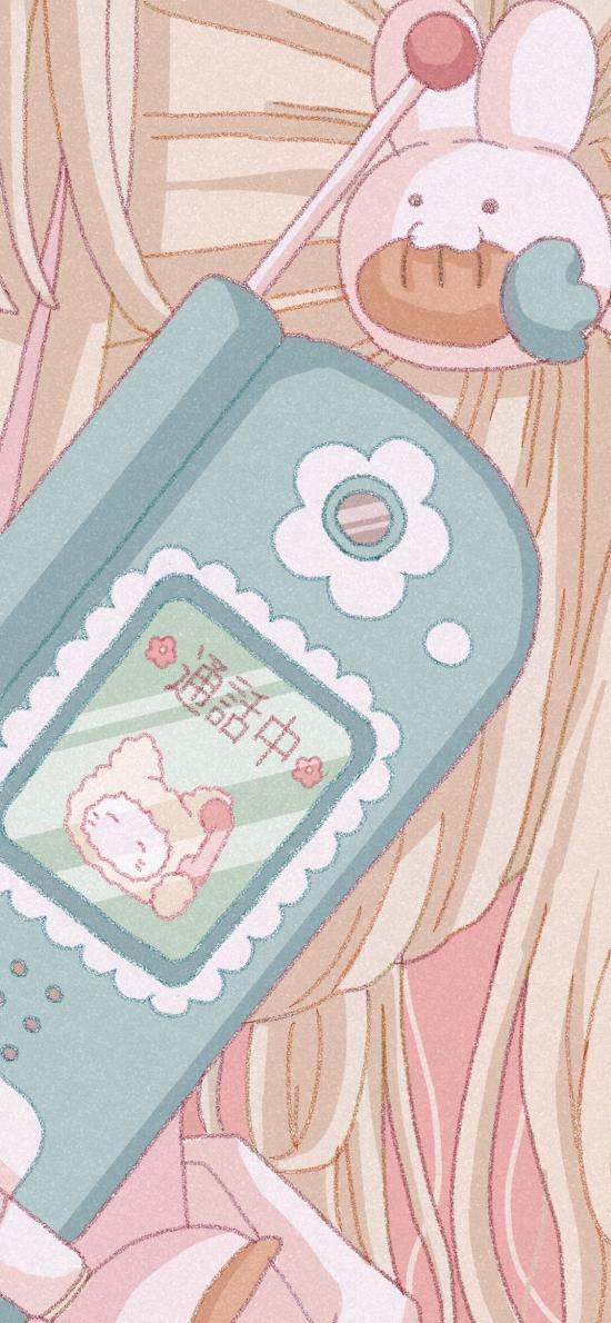 插图 少女心 手机 通话中