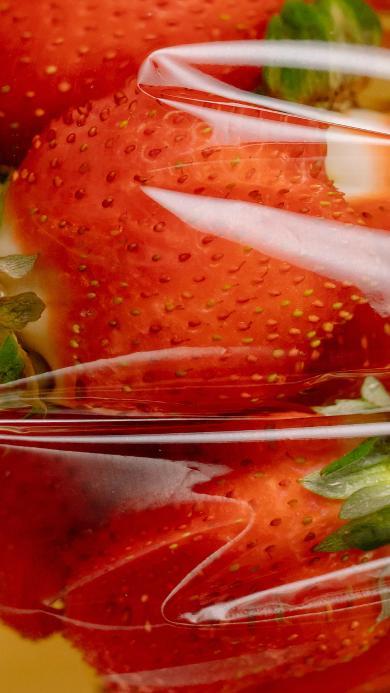 草莓 水果 红色 塑料袋 果汁 浸泡