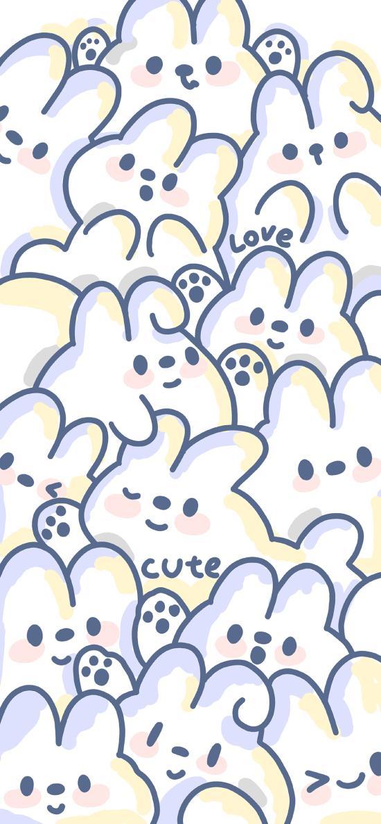 兔子 平铺 密集 可爱