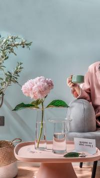 家居 插花 鲜花 绣球花 粉色