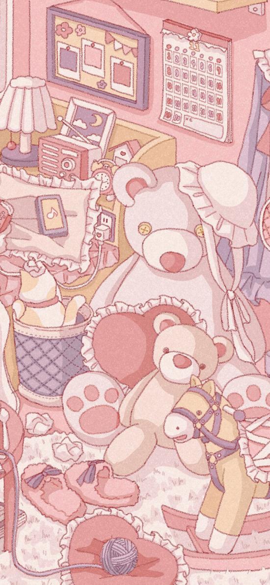 房间 少女心 粉色 玩偶熊