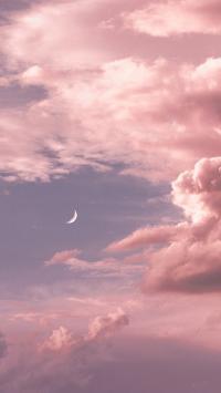 天空 月亮 粉色 云朵 月牙
