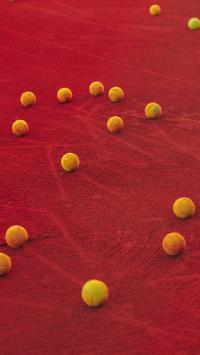 网球 散落 运动 红色 沙地