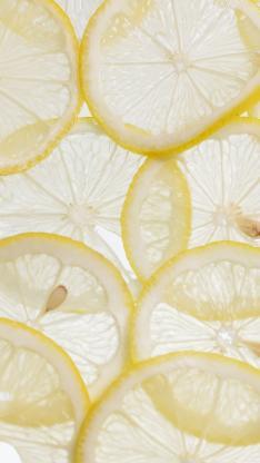柠檬 水果 切片 平铺 黄色