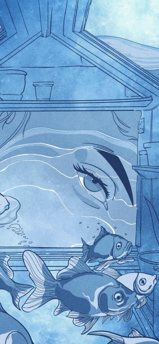 金鱼 蓝色  水族 插画 眼睛
