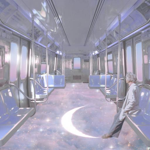 梦境列车 车厢 月亮 星空 紫色