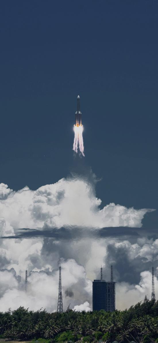 火箭 航空 发射 火焰 蓝色 科技