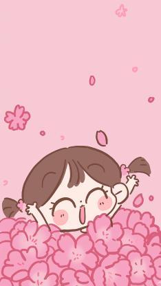 卡通 女孩 粉色 小花