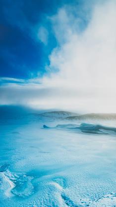 蓝天 冬季 冰川 雪白