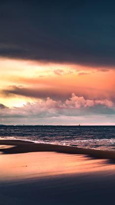 海景 傍晚 晚霞 海滩