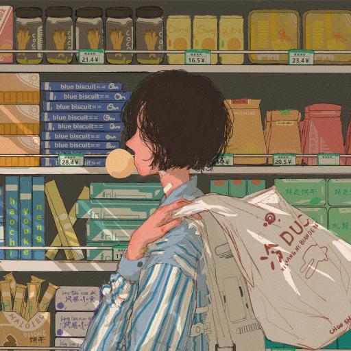 购物 女孩 商场 超市 泡泡糖 插画 @冷面老鸭
