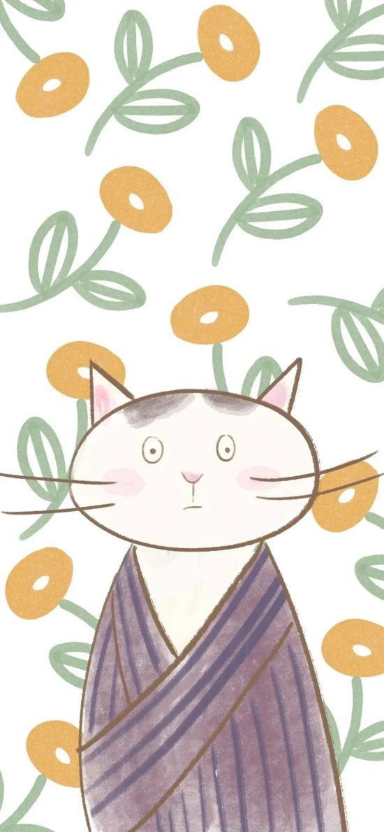 碎花 平铺 猫咪 可爱 插画