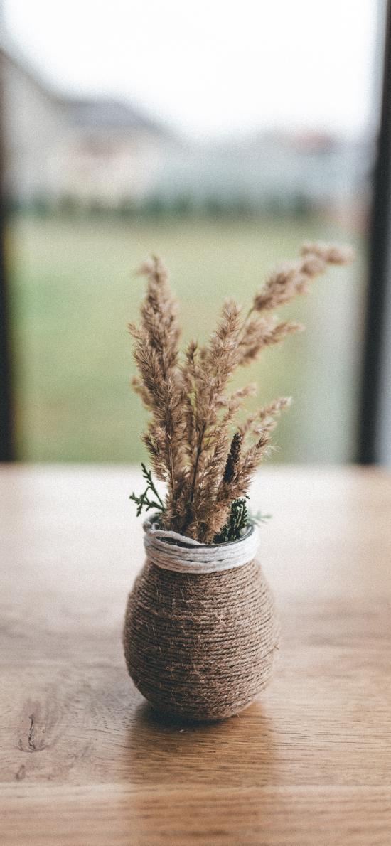 花瓶 编织 插花 干花