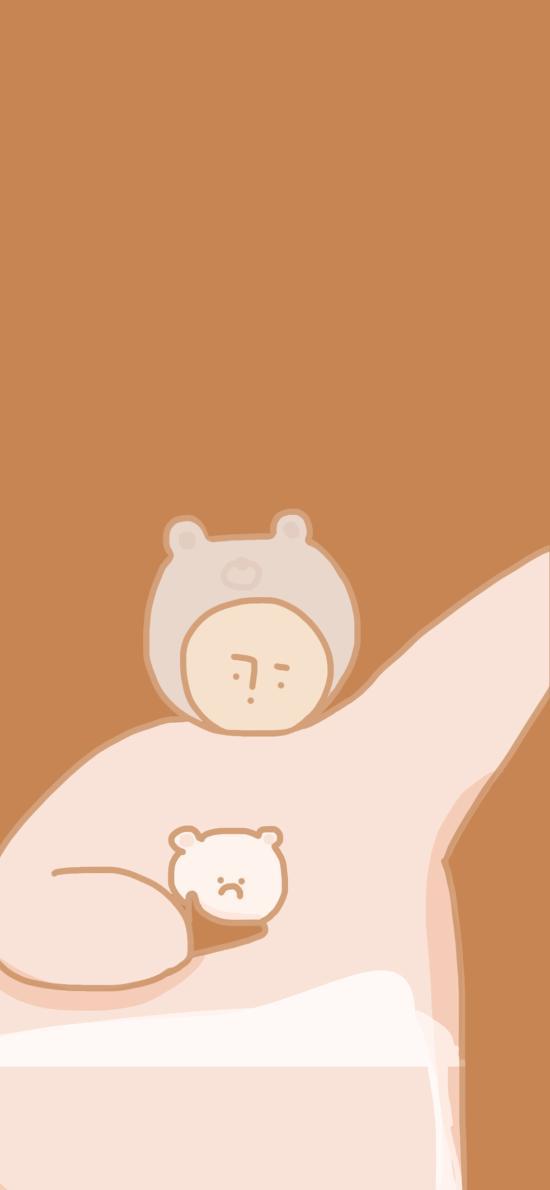 纯色背景 卡通 人物 小熊