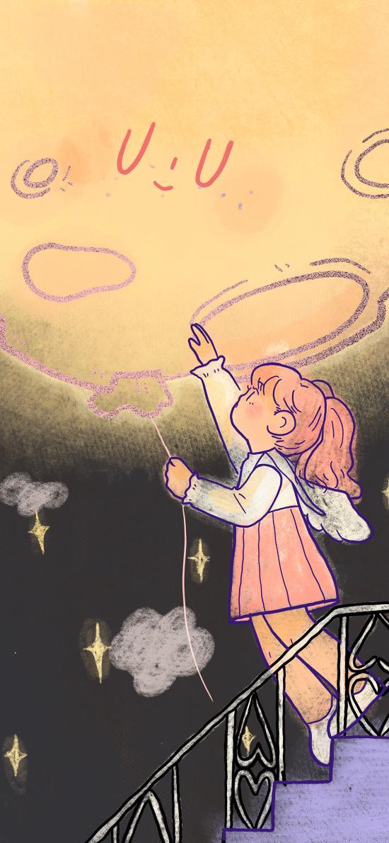 卡通 女孩 星球 星星