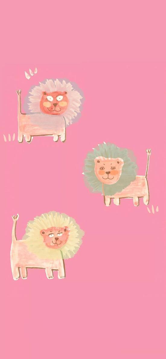 粉色背景 卡通  小狮子