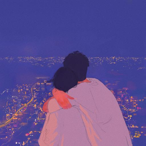 情侣 插画 拥抱 爱情 蓝色